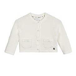 J by Jasper Conran - Baby girls' cream ribbed cardigan