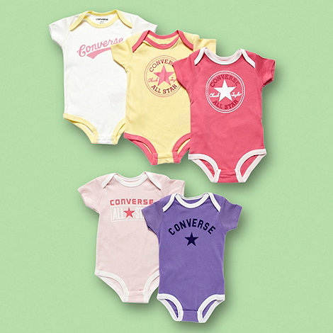 Converse - Babies pack of five logo bodysuits