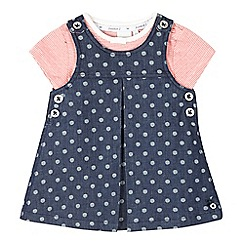 J by Jasper Conran - Baby girls' navy denim pinafore and striped t-shirt set