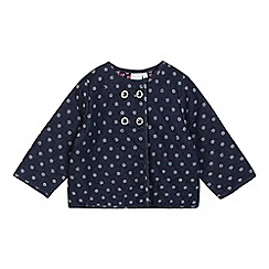 J by Jasper Conran - Baby girls' navy spotted print chambray jacket