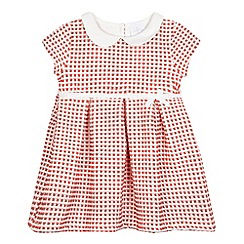 J by Jasper Conran - Baby girls' white and coral textured dress