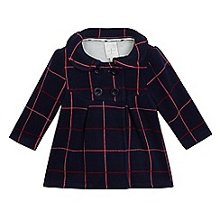 J by Jasper Conran - Baby girls' navy checked fleece coat