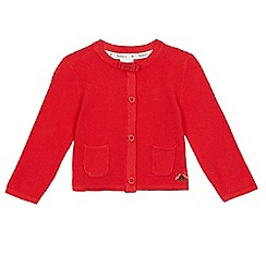 J by Jasper Conran - Baby girls' red textured pocket cardigan