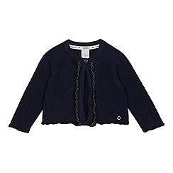 J by Jasper Conran - Baby girls' navy glitter scalloped cardigan