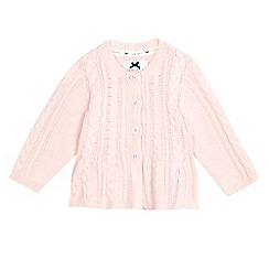 J by Jasper Conran - Baby girls' pink cable knit cardigan