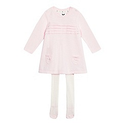 J by Jasper Conran - Baby girls' light pink knitted dress and cream tights set