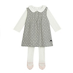 J by Jasper Conran - Baby girls' grey and cream top and pinafore set with tights