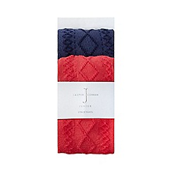 J by Jasper Conran - Pack of two baby girls' navy cable knit tights
