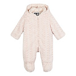 J by Jasper Conran - Girls' pink faux fur patterned snowsuit