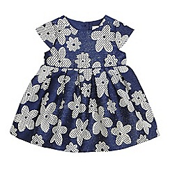 J by Jasper Conran - Baby girls' navy jacquard floral dress