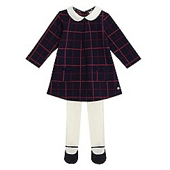 J by Jasper Conran - Baby girls' navy and pink checked dress with tights