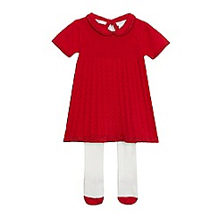 J by Jasper Conran - Baby girls' red Peter Pan collar dress with tights