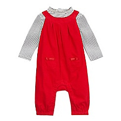 J by Jasper Conran - Baby girls' red cord dungarees and striped top set