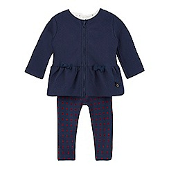 J by Jasper Conran - Baby girls' navy quilted peplum jacket and cream top set