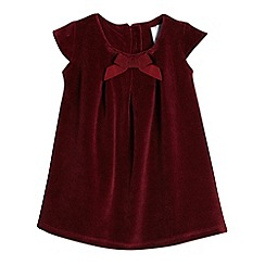 J by Jasper Conran - Baby girls' dark red velvet bow applique dress