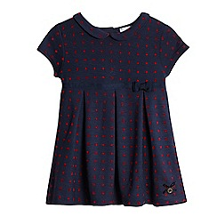 J by Jasper Conran - Baby girls' navy polka dot print dress