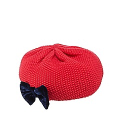 J by Jasper Conran - Babies red bow detail knitted beret