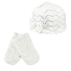 J by Jasper Conran - Babies cream knitted cotton hat and mittens set