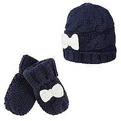 J by Jasper Conran - Babies navy knitted beanie and mittens set
