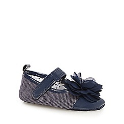 J by Jasper Conran - Baby boys' navy applique flower shoes