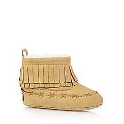Mantaray - Baby girls' tan fringed booties