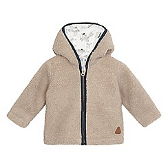 Mantaray - Baby boys' beige sherpa ear applique hooded jacket