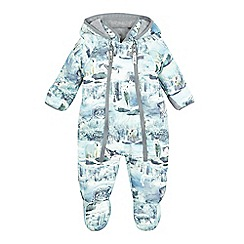 Mantaray - Babies light blue printed all-in-one snowsuit