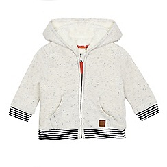 Mantaray - Baby boys' cream speckled hooded zip through sweater