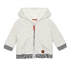 Mantaray - Baby boys' cream speckled hooded zip through sweater