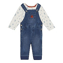 Mantaray - Baby boys' blue cord dungarees and top set
