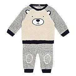Mantaray - Baby boys' navy and cream textured bear jumper and jogging bottoms set