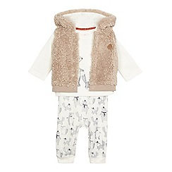 Mantaray - Baby boys' cream animal print top, bottoms and gilet set