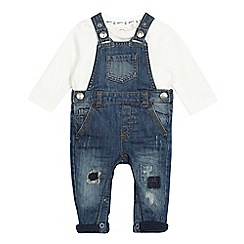 Mantaray - Baby girl's blue distressed denim dungarees and cream top set