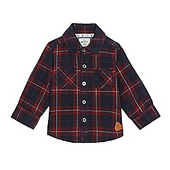 Mantaray - Baby boys' navy and red checked cord shirt