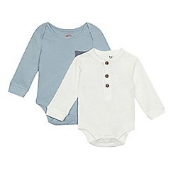 Mantaray - Pack of two baby boys' cream and blue bodysuits