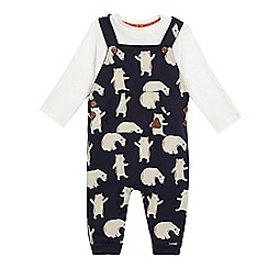 Mantaray - Baby boys' navy bear print dungarees and cream long sleeved top set