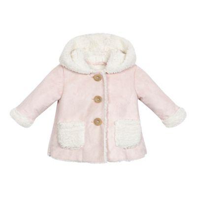 Mantaray Baby girls light pink shearling coat