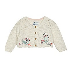 Mantaray - Baby girls' cream animal stitched cardigan