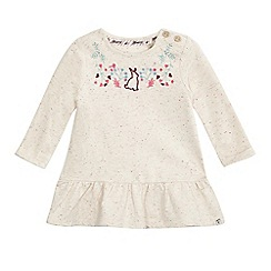 Mantaray - Baby girls' cream neppy embroidered flower yoke dress
