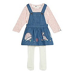 Mantaray - Baby girls' blue denim pinafore and printed top set with tights