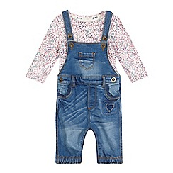 Mantaray - Baby girls' blue dungarees set