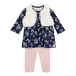 Mantaray - Baby girls' navy floral print top, cream gilet and pink leggings set