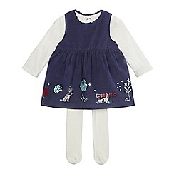 Mantaray - Baby girls' navy stitched woodland scene dress, cream top and tights set