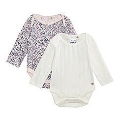 Mantaray - Pack of two baby girls' pink floral print and cream textured bodysuits