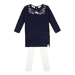 Mantaray - Baby girls' knitted blue bunny embroidered dress