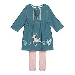 Mantaray - Girls' turquoise dress and tights set