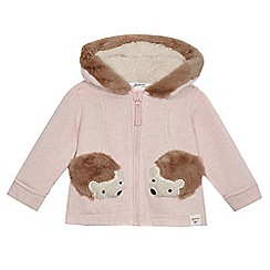 Mantaray - Baby girls' pink hedgehog pocket hoodie