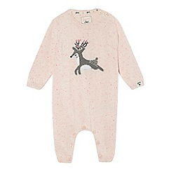 Mantaray - Baby girls' pink knitted dear romper suit