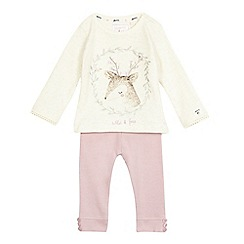 Mantaray - Baby girls' cream deer print top and lilac leggings set