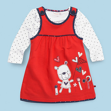 bluezoo - Babies red appliqued jersey pinafore and top